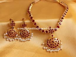red stones gold necklace images Imitation red stone attigai south india jewels jpg