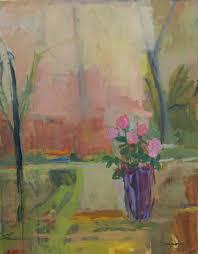 Striped Vase Stephen Dinsmore Still Life Pink Flowers In Striped Vase