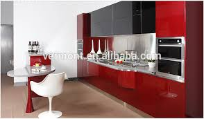 Red Kitchen Cabinets Glass Doors High Gloss Lacquer Kitchen - Red lacquer kitchen cabinets