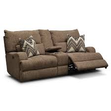 Loveseat Recliner With Console Comfy Power Reclining Sofa U0026 Loveseat Brown Sam Levitz Furniture
