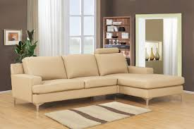 Laminating Flooring Cream Leather Sofa With L Shaped Design With Stainless Legs Wooden