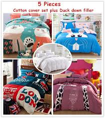 Down Comforter And Duvet Cover Set Modern Cotton Queen Home Textile Duck Down Comforter Bedding Sets