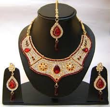 red gold jewelry necklace images Indian jewelry sets red color hand made gold plated necklace set jpg