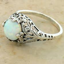 vintage opal engagement rings antique style white opal filigree engagement ring