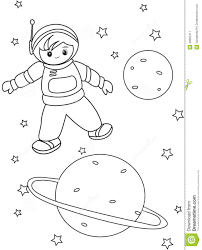 boy astronaut coloring page stock illustration image 49892411