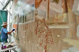 zoom in the initial mural sketches on hanoi old railway arch spans