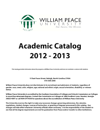 academic catalog 2012 13 by william peace university issuu