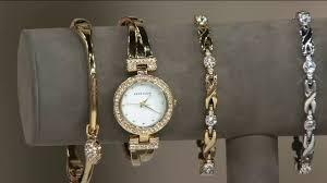 anne klein bracelet images Anne klein crystal bangle watch and bracelet set on qvc jpg