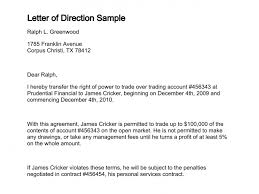 Financial Warranty Letter letter of direction