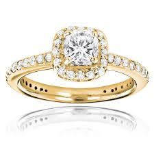 unique gold engagement rings 14k gold cushion cut unique engagement ring 1 22ct halo design