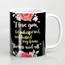 a court of thorns and roses book quote design coffee mug by evie