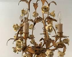 porcelain chandelier roses italian chandelier etsy