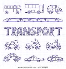 set ground transport sketch cars buses stock vector 442386187