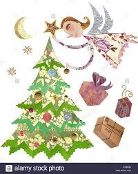 christmas tree angel illustration christmas tree angel stock photos illustration