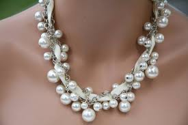 pearl necklace with ribbon images Chunky pearl necklace with ribbon off white ivory etsy jpg