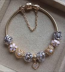 white gold bracelet with charms images Pandora bracelet with stunning gold charms and a touch of pink jpg