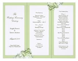 folded wedding program template custom tri fold wedding programs