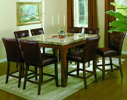 Dining Room Counter Height Tables Bruce 2767 Marble Top Counter Height Table And 6 Stools