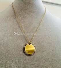 monogrammed gold necklace sale trendy monogram 25mm anti gold disk wholesale