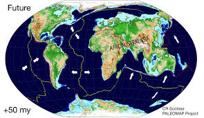 Map Of Tectonic Plates Map Of Plate Tectonics 50 Million Years In The Future