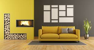 Yellow Fireplace Living Room With Yellow Sofa And Fireplace Stock Photo Interiors