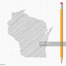 wisconsin map sketch with pencil on grid paper vector art getty