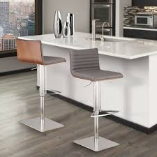 Adjustable Bar Stool With Back Adjustable Brushed Stainless Steel Barstool In Gray Pu With Walnut