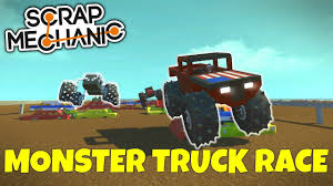 monster truck racing video monster truck race scrap mechanic multiplayer gameplay ep 220