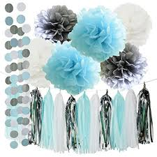 blue and silver decorations