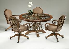 dining table with caster chairs magnificent dining room outstanding dinettes with rolling chairs