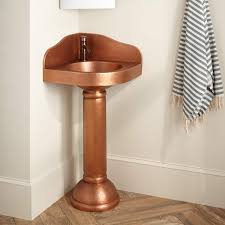 Corner Sink Powder Room Hammered Copper Corner Pedestal Sink Bathroom