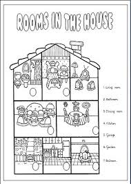 rooms in the house in the house elementary worksheet
