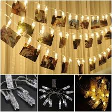 string lights with picture clips wall light photo window hanging peg clips led string lights pegs