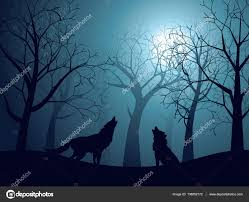 wolf howling in the night forest u2014 stock vector artshock 138052172