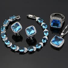 blue zircon jewelry necklace images Blue zircon jewelry white cz women 925 sterling silver jewelry jpg
