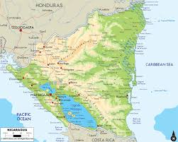 Physical Map Of Central America by Physical Map Of Nicaragua Ezilon Maps
