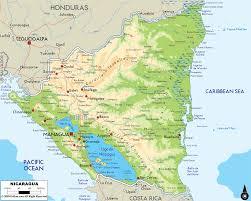 Ocean Lakes Map Physical Map Of Nicaragua Ezilon Maps
