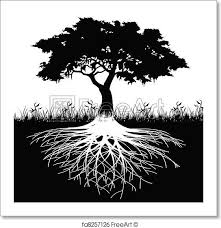 free print of tree roots silhouette illustration of