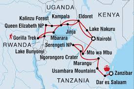 Rwanda Map Gorillas Game Parks U0026 Beaches Tanzania Tours Intrepid Travel Ca