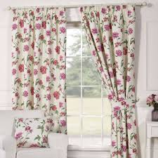 Pink Pleated Curtains Charlotte Vintage Floral Birdcage Print Curtains Taupe