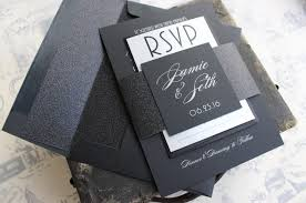 and black wedding invitations silver on black wedding invitation glitter wedding invitation