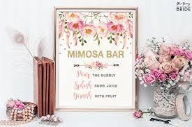Bridal Shower Signs Pink And Gold Mimosa Bar Printable Sign Floral Bridal Shower Sign
