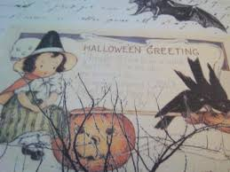 primitive halloween fabric panel cotton quilt square witch patch