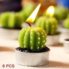bougie jardin 6 pcs décor à la maison mini cactus bougie table thé lumière