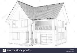 sketch lines of a large frame house created with 3d technology