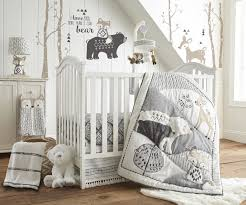 Gray Baby Crib Bedding Levtex Baby Bailey Charcoal And White Woodland Themed 5 Crib