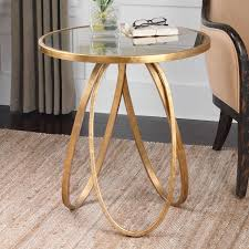 gold and glass table montrez gold accent table forged metal frame round antiqued mirror