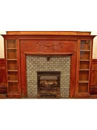 Fireplace Mantels With Bookcases 1880 U0027s Victorian Era Solid Oak Wood Mantel With Unique Bookcase Ends