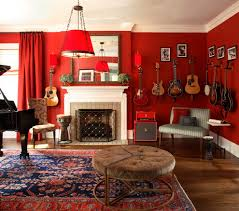 music room design living room eclectic with music storage red