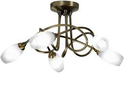 Antique Brass Ceiling Light 4 And 5 Light Semi Flush Ceiling Lights From Easy Lighting